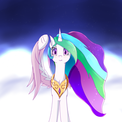 Size: 1518x1518 | Tagged: safe, artist:divifilly, princess celestia, alicorn, pony, simple background, sky, solo