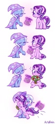 Size: 1090x2442 | Tagged: safe, artist:bi4ckb4t, starlight glimmer, trixie, pony, unicorn, blushing, bouquet, colored hooves, comic, cute, diatrixes, female, flower, glimmerbetes, grin, hat, holiday, hug, lesbian, levitation, magic, question mark, shipping, smiling, startrix, telekinesis, valentine's day