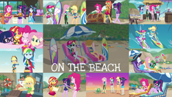 Size: 1958x1102 | Tagged: safe, edit, edited screencap, editor:quoterific, screencap, applejack, fluttershy, pinkie pie, rainbow dash, rarity, sci-twi, sunset shimmer, twilight sparkle, crab, human, aww... baby turtles, blue crushed, equestria girls, equestria girls series, friendship math, lost and found, the salty sails, too hot to handle, turf war, unsolved selfie mysteries, x marks the spot, applejack's hat, barefoot, beach, cap, clothes, cowboy hat, duo, duo female, eyes closed, feet, female, geode of empathy, geode of fauna, geode of shielding, geode of sugar bombs, geode of super speed, geode of super strength, geode of telekinesis, hat, humane five, humane seven, humane six, lifejacket, magazine, magical geodes, male, one eye closed, open mouth, sandals, sitting, smiling, sunglasses, sunset, swimsuit, teeth, treasure chest, treasure hunting, treasure map, trio, trio female, wink