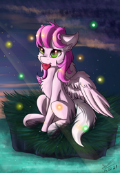 Size: 1256x1808 | Tagged: safe, artist:yuris, oc, oc only, firefly (insect), insect, pegasus, pony, chest fluff, commission, floppy ears, grass, heart, holiday, mouth hold, solo, valentine, valentine's day, ych result