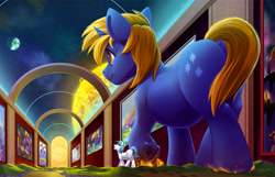 Size: 2500x1607 | Tagged: safe, artist:tsitra360, oc, oc only, oc:snap fable, oc:star bright, pony, unicorn, art gallery, city, commission, cutie mark, destruction, duo, giant pony, hallway, indoors, land, macro, micro, open mouth, planet, size difference, space, stomping, sun, underhoof