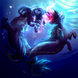 Size: 1280x1268 | Tagged: safe, artist:yamikonek0, oc, oc only, hybrid, merpony, pony, seapony (g4), unicorn, bubble, crepuscular rays, curly mane, deviantart watermark, eyes closed, fins, fish tail, flowing mane, flowing tail, glow, high res, looking at each other, obstructive watermark, obtrusive watermark, seaponified, smiling, species swap, sunlight, swimming, tail, tail wrap, underwater, water, watermark