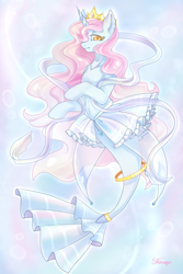 Size: 2000x3000   Tagged: safe, artist:foxcarp, oc, pony, seapony (g4), unicorn, abstract background, bubble, clothes, crown, curly mane, deviantart watermark, female, fish tail, flowing mane, flowing tail, horn, jewelry, looking at you, obstructive watermark, obtrusive watermark, pink mane, regalia, seaponified, see-through, signature, skirt, solo, species swap, tail, underwater, water, watermark, yellow eyes