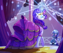 Size: 2500x2142 | Tagged: safe, artist:sirmasterdufel, hoity toity, rarity, earth pony, pony, unicorn, mlp fim's tenth anniversary, suited for success, carousel boutique, clapping, clothes, dress, duo, eyes closed, female, gala dress, glasses, glowing horn, horn, male, mare, scene interpretation, smiling, stallion, underhoof