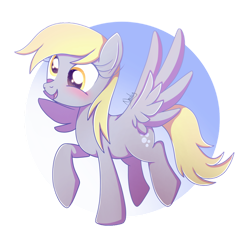 Size: 1024x1012 | Tagged: safe, artist:nnaly, derpy hooves, pegasus, pony, blushing, cute, derp, derpabetes, female, mare, open mouth, signature, smiling, solo, sparkly eyes, spread wings, wings