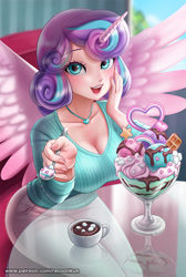 Size: 805x1200   Tagged: safe, artist:racoonsan, princess flurry heart, alicorn, human, alicorn humanization, beautiful, big breasts, blue eyes, blue hair, breasts, busty flurry heart, chair, chocolate, cleavage, clothes, cloud, cute, dessert, drink, eyebrows, eyebrows visible through hair, eyelashes, eyeshadow, feather, female, fingernails, flurrybetes, food, glass, heart, holiday, horn, horned humanization, hot chocolate, humanized, ice cream, indoors, jewelry, looking at you, makeup, marshmallow, multicolored hair, necklace, older, older flurry heart, open mouth, pants, purple hair, sitting, sky, solo, spoon, spread wings, sundae, table, teeth, text, tongue out, tree, valentine's day, winged humanization, wings