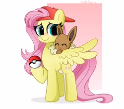 Size: 4096x3592 | Tagged: safe, artist:kittyrosie, fluttershy, eevee, pegasus, pony, crossover, cute, digital art, female, hat, mare, pokéball, pokémon, shyabetes, smiling