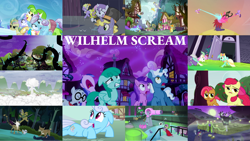 Size: 1280x721 | Tagged: safe, edit, edited screencap, editor:quoterific, screencap, amethyst star, apple bloom, applejack, babs seed, berry splash, carrot top, chickadee, daring do, derpy hooves, fluttershy, golden harvest, humdrum, lemon hearts, linky, lyra heartstrings, lyrica lilac, mane-iac, masked matter-horn, mistress marevelous, mr. waddle, ms. peachbottom, neon brush, orchid dew, pinkie pie, pokey pierce, ponet, princess cadance, radiance, rainbow dash, rapid rush, rarity, sea swirl, seafoam, shoeshine, silver script, sparkler, spike, spring melody, sprinkle medley, sunshine splash, sunshower raindrops, sweetie belle, twilight sparkle, twinkleshine, zapp, alicorn, crystal pony, dragon, earth pony, pegasus, pony, tatzlwurm, unicorn, daring doubt, do princesses dream of magic sheep, for whom the sweetie belle toils, magic duel, make new friends but keep discord, power ponies (episode), princess twilight sparkle (episode), scare master, tanks for the memories, three's a crowd, angry, bipedal, clothes, costume, dress, female, filly, floppy ears, gala dress, halloween, halloween costume, holiday, kick, laser, male, nose in the air, open mouth, power ponies, rain, running, screaming, trophy, twilight sparkle (alicorn), wilhelm scream