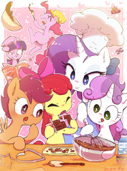 Size: 1192x1600 | Tagged: safe, artist:nendo, apple bloom, pinkie pie, rarity, scootaloo, sweetie belle, twilight sparkle, earth pony, pegasus, pony, unicorn, adorabloom, baking, chef's hat, chocolate, clothes, cute, cutealoo, cutie mark crusaders, diapinkes, diasweetes, food, hat, holiday, licking, licking lips, open mouth, raribetes, tongue out, twiabetes, valentine's day