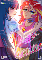 Size: 2112x3000   Tagged: safe, artist:hanasakiyunarin, sunset shimmer, twilight sparkle, equestria girls, camera shot, choker, clothes, cute, cutie mark, cutie mark on clothes, duo, female, holiday, human coloration, lesbian, looking at you, shipping, smiling, sunlight, sunsetsparkle, thermometer, tongue out, valentine's day