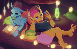 Size: 2700x1704   Tagged: safe, artist:dumddeer, ocellus, smolder, changedling, changeling, dragon, barefoot, blue eyes, book, bracelet, cellphone, chips, claws, clothes, dragoness, duo, duo female, eating, feet, female, food, jewelry, lamp, lantern, lava lamp, light, lying, lying down, pentagram, phone, pillow, potato chips, prone, reading, smartphone, teenaged dragon, teenager, toes