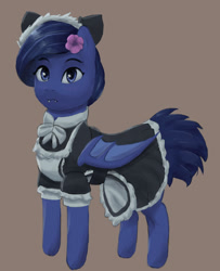 Size: 1280x1580 | Tagged: safe, artist:monx94, oc, oc only, bat pony, bat pony oc, bat wings, blue eyes, blushing, clothes, cute, fangs, flower, flower in hair, full body, looking at you, maid, maid headdress, solo, wings