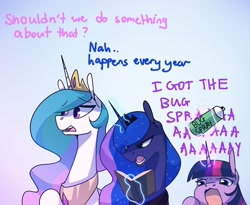 Size: 1752x1440 | Tagged: safe, artist:anticular, part of a set, princess celestia, princess luna, twilight sparkle, alicorn, angry dog noises, bug spray, crown, glowing horn, horn, jewelry, meme, open mouth, regalia, royal sisters, siblings, sisters, straw, twilight sparkle (alicorn)