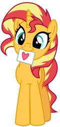 Size: 1024x2138   Tagged: safe, artist:emeraldblast63, sunset shimmer, pony, unicorn, cute, female, hearts and hooves day, holiday, mare, mouth hold, shimmerbetes, simple background, solo, transparent background, valentine, valentine's day
