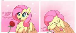 Size: 4451x1943 | Tagged: safe, artist:nookprint, fluttershy, pegasus, pony, 2 panel comic, comic, cute, daaaaaaaaaaaw, dialogue, eating, eating flower, eyes closed, female, flower, heart, herbivore, horses doing horse things, mare, nom, offscreen character, open mouth, rose, shyabetes, smiling, solo, weapons-grade cute