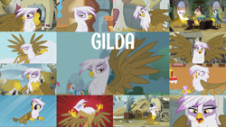 Size: 1978x1113   Tagged: safe, edit, edited screencap, editor:quoterific, screencap, gabby, gilda, grampa gruff, grizzle, pinkie pie, rainbow dash, earth pony, griffon, pegasus, pony, griffon the brush off, the fault in our cutie marks, the hearth's warming club, the lost treasure of griffonstone, eyes closed, female, male, open mouth, shocked, solo, teeth, trio, trio female, yelling, younger