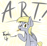 Size: 2076x2031 | Tagged: safe, artist:pinkberry, derpy hooves, female, mouth hold, pencil, solo, sunburst background, text