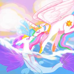 Size: 1000x1000 | Tagged: safe, artist:kindestegg, princess celestia, queen novo, alicorn, pony, seapony (g4), my little pony: the movie, bioluminescent, cloud, colored pupils, crown, duo, duo female, eyelashes, female, fin wings, fins, fish tail, flowing mane, flowing tail, flying, hoof shoes, horn, jewelry, lesbian, looking at each other, necklace, novolestia, ocean, purple eyes, regalia, shipping, sky, smiling, swimming, tail, underwater, water, wings