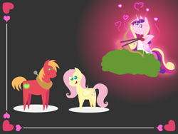 Size: 2880x2160 | Tagged: safe, anonymous artist, big macintosh, fluttershy, princess cadance, alicorn, earth pony, pegasus, pony, series:fm holidays, arrow, black background, bow (weapon), bow and arrow, cupidance, female, fluttermac, glowing eyes, heart arrow, holiday, hoof hold, male, mare, pointy ponies, princess of love, princess of shipping, shipper on deck, shipping, simple background, stallion, straight, valentine's day, weapon