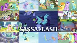 Size: 1974x1111 | Tagged: safe, edit, edited screencap, editor:quoterific, screencap, admiral fairy flight, amethyst star, berry punch, berryshine, caramel, carrot top, cherry berry, cloud kicker, dizzy twister, fluttershy, golden harvest, holly wreath, orange swirl, perfect pie, pinkie pie, princess cadance, princess luna, rainbow dash, rainbowshine, rarity, sassaflash, sea swirl, seafoam, shining armor, silver script, smarty pants, sparkler, sunshower raindrops, twilight sparkle, yuletide, alicorn, bird, duck, earth pony, mouse, pegasus, pony, rabbit, squirrel, unicorn, a flurry of emotions, a hearth's warming tail, equestria girls, equestria girls series, fame and misfortune, forgotten friendship, hurricane fluttershy, lesson zero, luna eclipsed, magical mystery cure, sparkle's seven, testing testing 1-2-3, the show stoppers, trade ya, winter wrap up, a thousand nights in a hallway, angry, animal, apple family member, background pony, book, candy, candy cane, christmas, clothes, costume, detective rarity, duo, duo female, eyes closed, female, flying, food, glowing horn, halloween, halloween costume, hat, heart eyes, holiday, hoofbump, horn, magic, magic aura, male, mouth hold, open mouth, pineapple, shocked, teeth, trio, trio female, tug of war, walking, wingding eyes