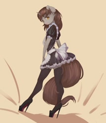 Size: 1032x1200   Tagged: safe, artist:qweeli, oc, oc only, oc:silver bubbles, unicorn, anthro, plantigrade anthro, apron, bow, clothes, crossdressing, embarrassed, femboy, high heels, looking at you, looking to side, maid, male, platform heels, shoes, sissy, socks, stiletto heels, thigh highs, zettai ryouiki