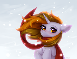 Size: 2600x2000 | Tagged: safe, artist:avrameow, oc, oc only, oc:aurora shinespark, pony, unicorn, blushing, clothes, commission, ear piercing, earring, jewelry, looking at you, piercing, scarf, snow, snowfall, solo, ych result
