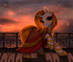 Size: 2600x2200 | Tagged: safe, artist:avrameow, oc, oc only, oc:aurora shinespark, pony, unicorn, city, cityscape, clasp, clothes, dress, ear piercing, earring, jewelry, leg rings, looking at you, piercing, shoes, sunset