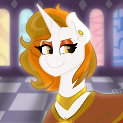Size: 2048x2048 | Tagged: safe, artist:cadetredshirt, oc, oc:aurora shinespark, pony, unicorn, bust, canterlot castle interior, commission, digital art, ear piercing, earring, horn, icon, jewelry, piercing, smiling, smug, solo