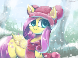 Size: 3993x3000   Tagged: safe, artist:colochenni, fluttershy, pegasus, pony, clothes, cute, daaaaaaaaaaaw, drawthread, female, folded wings, grass, hat, head turned, high res, mare, outdoors, scarf, shyabetes, smiling, snow, snowfall, solo, standing, tree, wings, winter outfit, wintershy