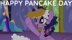Size: 1920x1080 | Tagged: safe, edit, edited screencap, editor:quoterific, screencap, twilight sparkle, alicorn, pony, castle sweet castle, female, food, i'm pancake, messy mane, open mouth, pancakes, solo, twilight sparkle (alicorn), twilight's castle