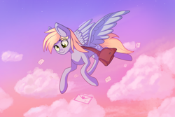 Size: 6000x4000 | Tagged: safe, artist:stravyvox, derpy hooves, pegasus, pony, absurd resolution, cloud, female, flying, letter, mare, satchel, sky, solo, spread wings, wings
