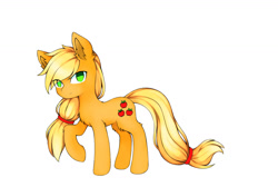 Size: 1200x804   Tagged: safe, alternate version, artist:aleuoliver, applejack, earth pony, pony, apple, background removed, colored, female, food, mare, missing accessory, raised hoof, simple background, solo, white background