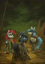 Size: 2480x3508 | Tagged: safe, artist:anticular, oc, oc only, earth pony, pegasus, pony, unicorn, fallout equestria, bag, clothes, commission, fanfic art, goggles, gun, jacket, rifle, saddle bag, trio, wasteland, weapon
