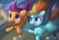 Size: 7400x4996   Tagged: safe, artist:auroriia, rainbow dash, scootaloo, pegasus, pony, absurd resolution, cute, duo, female, filly, flying, holding a pony, mare, open mouth, rainbow, scootalove, spread wings, windswept mane, wings