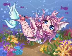 Size: 2050x1600 | Tagged: safe, artist:kitsu-chan11, oc, oc only, crab, fish, seapony (g4), blue eyes, blushing, bubble, chibi, coral, crepuscular rays, female, fish tail, flowing mane, flowing tail, ocean, pink mane, seaweed, smiling, solo, swimming, tail, underwater, water