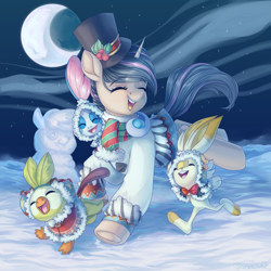 Size: 3000x3000   Tagged: safe, artist:neonishe, oc, grookey, pony, scorbunny, sobble, unicorn, clothes, commission, crescent moon, eyes closed, hat, moon, night, pokemon sword and shield, pokémon, scarf, snow, snowpony, winter, winter outfit