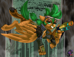 Size: 3506x2728   Tagged: safe, artist:brainiac, oc, oc:atom smasher, pegasus, fallout equestria, fallout equestria: duck and cover, bottomless, clothes, dock, fanfic art, female, horseshoes, mare, nerf gun, partial nudity, shutter shades, solo, underhoof, wing hands, wings