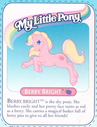 Size: 577x755 | Tagged: safe, berry bright, earth pony, pony, g2, official, backcard, backcard story, text