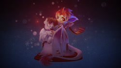 Size: 1280x720 | Tagged: safe, artist:v747, oc, oc only, oc:proba, oc:schwoopy tail, dragon, pegasus, 3d, clothes, duo, freezing, hug, scarf, sitting, snow, winghug, wings