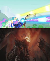 Size: 1333x1628 | Tagged: safe, artist:jamnetwork, discord, princess celestia, princess luna, alicorn, draconequus, pony, the ending of the end, barad-dûr, comparison, eye of sauron, female, lord of the rings, magic, male, mare, mordor, return of the king, sauron