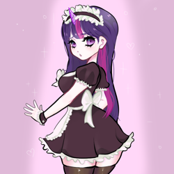 Size: 800x800 | Tagged: dead source, safe, artist:grinnreaperr, twilight sparkle, human, anime style, clothes, female, horn, horned humanization, humanized, maid, solo