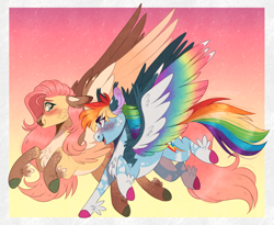 Size: 1496x1224 | Tagged: safe, artist:wanderingpegasus, fluttershy, rainbow dash, pegasus, pony, alternate hairstyle, blaze (coat marking), blushing, chest fluff, coat markings, colored hooves, colored wings, facial markings, feathered fetlocks, female, flutterdash, freckles, gradient wings, lesbian, looking at each other, mare, markings, multicolored wings, open mouth, pale belly, rainbow wings, raised hoof, raised leg, redesign, running, shipping, socks (coat markings), two toned wings, unshorn fetlocks, wings