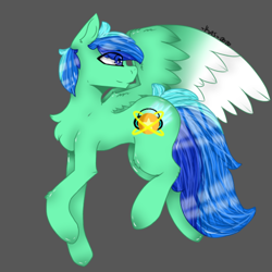Size: 438x438 | Tagged: safe, artist:crazy_artz_35, artist:jadebreeze115, oc, oc only, oc:jade breeze, pegasus, pony, anatomically incorrect, blue eyes, blue hair, chest fluff, colored wings, cutie mark, fanart, flying, gradient wings, gray background, hooves, looking back, request, requested art, simple background, solo, spread wings, wings