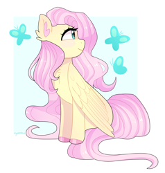 Size: 2200x2312 | Tagged: safe, artist:emera33, fluttershy, butterfly, pegasus, pony, blushing, chest fluff, colored hooves, cute, ear fluff, female, folded wings, head turned, high res, looking at something, mare, profile, shyabetes, simple background, sitting, smiling, solo, white background, wings