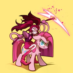 Size: 2500x2500 | Tagged: safe, artist:rrd-artist, pinkie pie, earth pony, pony, angry, gem rejuvenator, grin, looking at you, pinkamena diane pie, riding, scythe, smiling, spinel (steven universe), steven universe