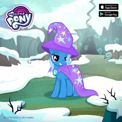 Size: 1080x1080 | Tagged: safe, trixie, pony, unicorn, cape, clothes, female, gameloft, hat, mare, smiling, snow, solo, trixie's cape, trixie's hat