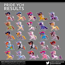 Size: 3820x3820 | Tagged: safe, artist:obscuredragone, rainbow dash, trixie, oc, oc:altius volantis, oc:cadenza heartsong, oc:chasing dawn, oc:hrmnpfg, oc:thorinair, oc:violin melody, alicorn, earth pony, hybrid, original species, pegasus, pony, raccoon, raccoon pony, shark, shark pony, unicorn, alicorn oc, bisexual pride flag, chibi, commission, cute, female, flag, gray background, great britain, high res, hong kong, horn, leonine tail, looking at you, lunar republic, male, mare, pansexual pride flag, pride, pride flag, sheet, shipping, simple background, spread wings, stallion, transgender, transgender pride flag, twixie, wings, ych result