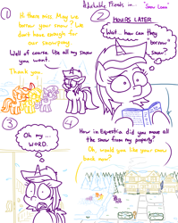 Size: 4779x6013   Tagged: safe, artist:adorkabletwilightandfriends, amethyst star, apple bloom, scootaloo, sparkler, sweetie belle, earth pony, pegasus, pony, unicorn, comic:adorkable twilight and friends, absurd resolution, adorkable, adorkable friends, book, borrow, borrowing, bow, comic, cute, cutie mark crusaders, dork, driveway, female, filly, flag, forest, frost, funny, grass, home, house, humor, lawn, mare, outdoors, ponyville, porch, reading, shocked, sidewalk, slice of life, snow, snow day, snowpony, solo, surprised, thought bubble, winter, yard