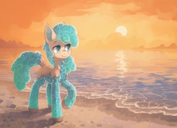 Size: 2032x1462   Tagged: safe, artist:koviry, part of a set, oc, oc only, pony, beach, commission, raised hoof, scenery, smiling, solo, sun, water, ych result