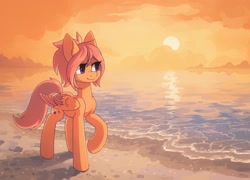Size: 2032x1462   Tagged: safe, artist:koviry, part of a set, oc, oc only, oc:shoop, pegasus, pony, beach, commission, raised hoof, scenery, smiling, solo, sun, water, ych result